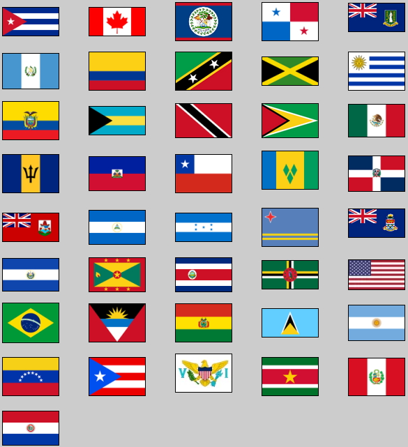 Flags of the 2015 Pan American Games. Lizard Point