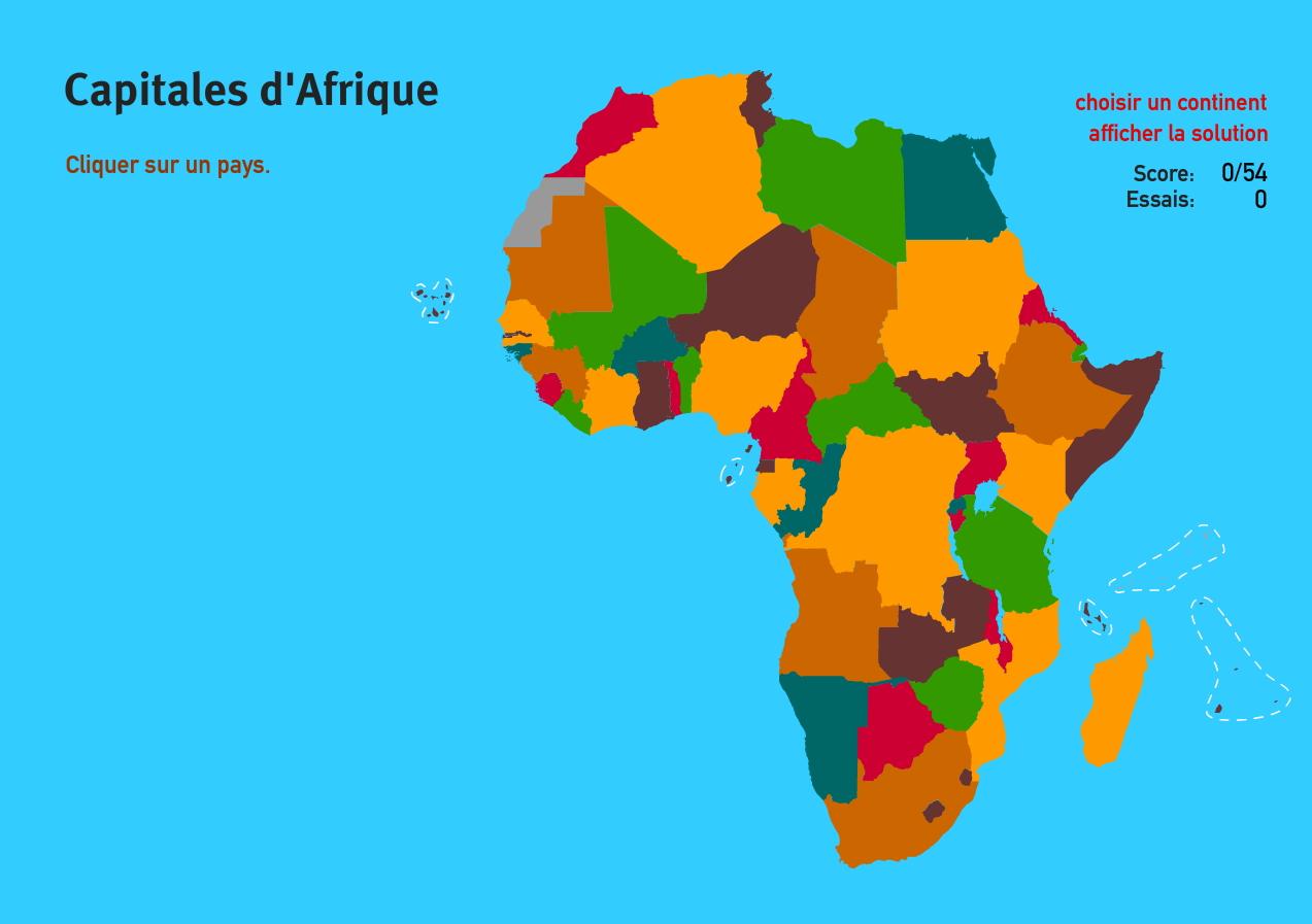 Capitales d'Afrique. Jeux de Géographie