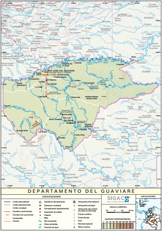 Mapa físico de Guaviare (Colombia). IGAC