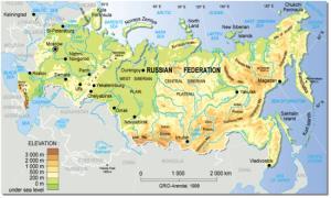 Mapa físico de Rusia. GRID-Arendal
