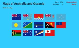Flags of Oceania. World Geography Games