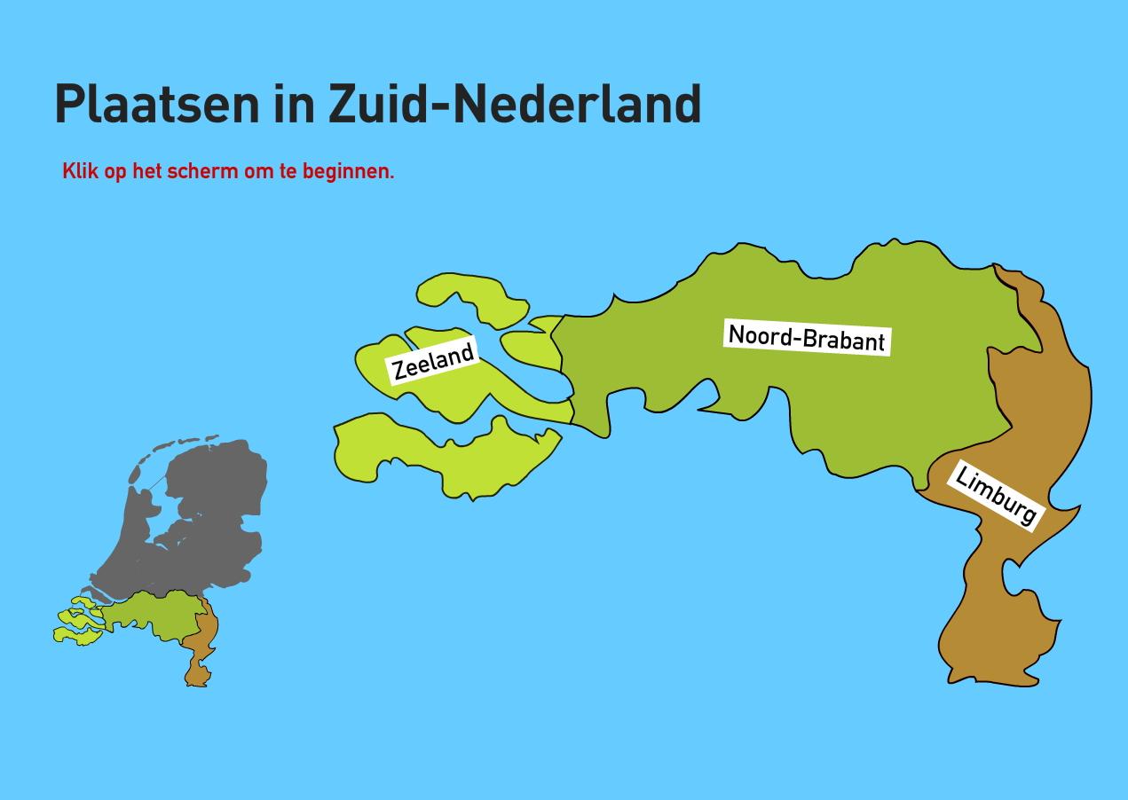Plaatsen in Zuid-Nederland. Topo VMBO