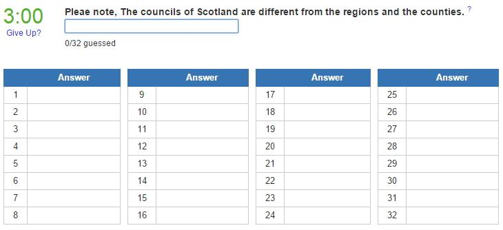 Councils of Scotland (JetPunk)