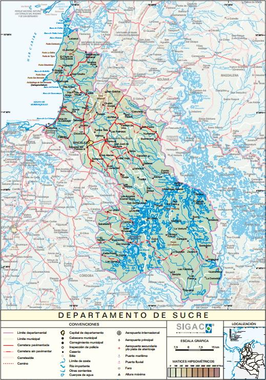 Mapa físico de Sucre (Colombia). IGAC