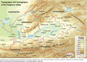 Mapa físico del Valle de Ferganá. GRID-Arendal