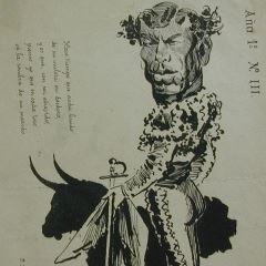 """Caricatura del torero Salvador Sánchez Povedano, """"Frascuelo"""""""