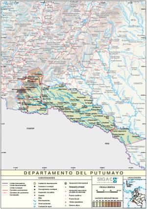 Mapa físico de Putumayo (Colombia). IGAC