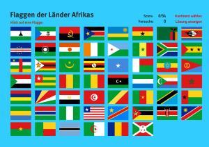 Flaggen der Länder Afrikas. Welt-Quiz Geographie