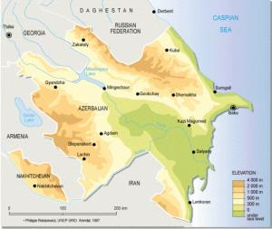 Mapa físico de Azerbaiyán. GRID-Arendal