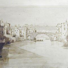 Vista de la Isla Tiberina y el Ponte Fabricio (ponte rotto) en Roma