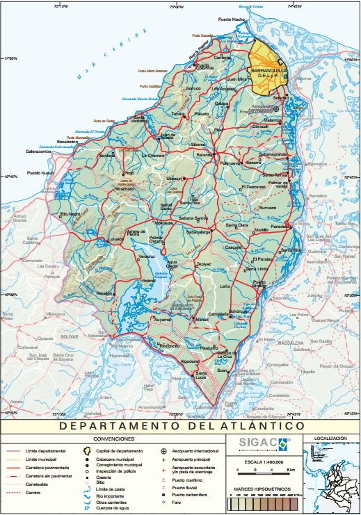 Mapa físico de Atlántico (Colombia). IGAC