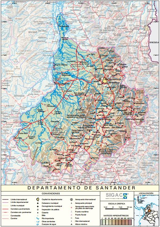 Mapa físico de Santander (Colombia). IGAC
