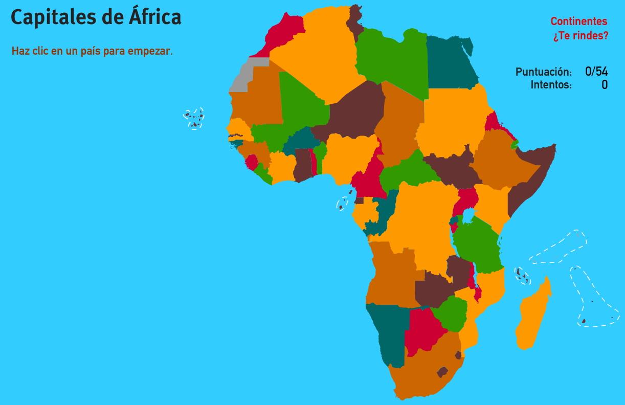 Capitales de África. Juegos de Geografía