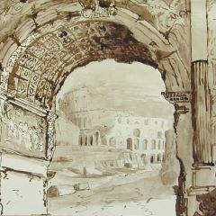 Vista del Coliseo a través del arco de Tito, Roma (Italia)