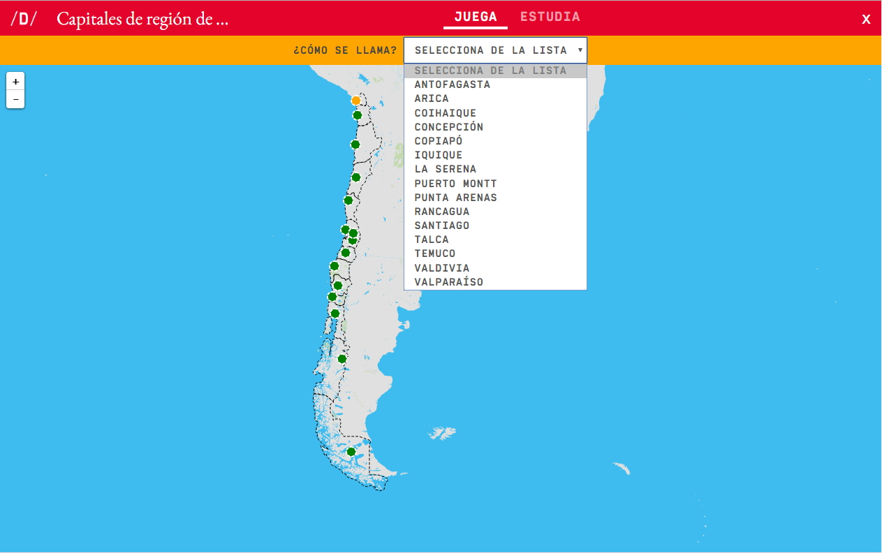 Interactive Map What S The Name Capitals Regions Of Chile Mapas Interactivos De Didactalia