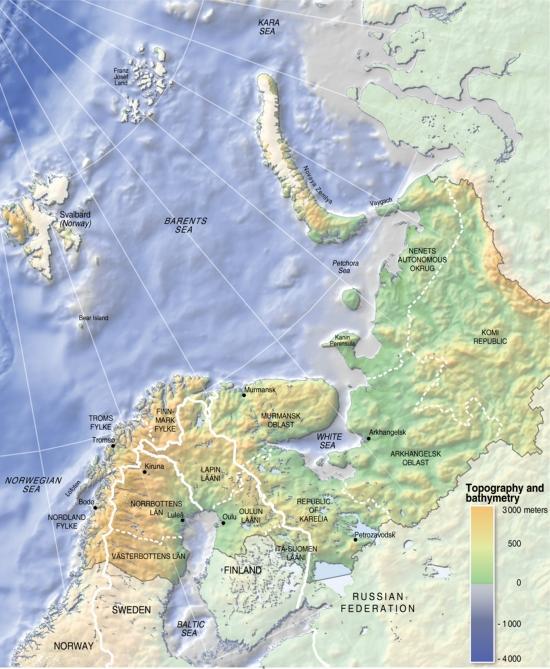 Mapa físico de la región de Barents. GRID-Arendal