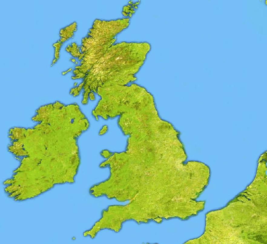 Seas and islands of United Kingdom and Ireland. Toporopa