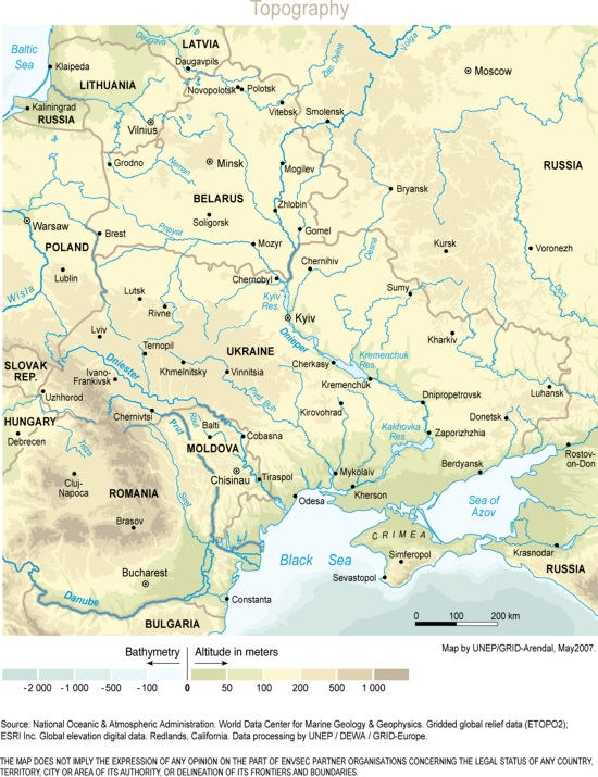 Mapa físico de la Europa del Este. GRID-Arendal