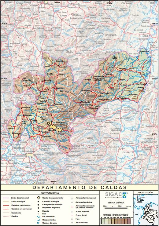 Mapa físico de Caldas (Colombia). IGAC