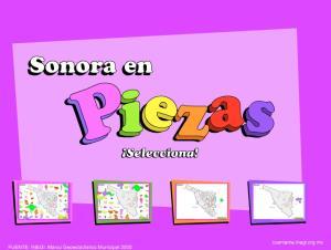 Municipios de Sonora. Puzzle. INEGI de México