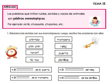 Ficha sobre contenidos de lengua y literatura para primaria