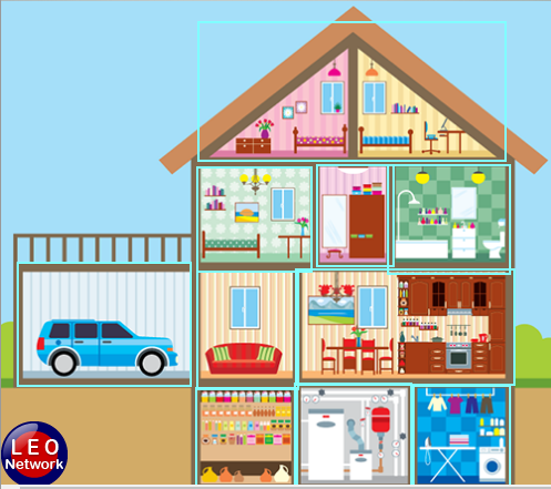Rooms in a house vocabulary (Leo Network)