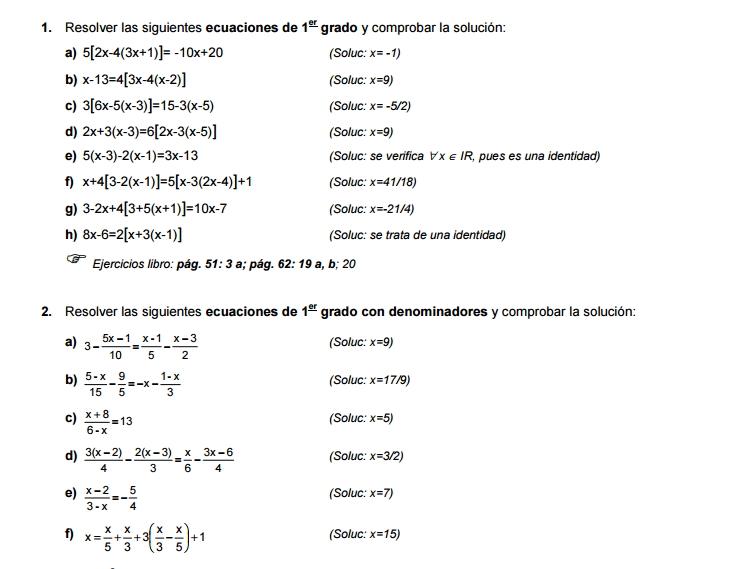 Ejercicios De Ecuaciones Y Sistemas De 1º Y 2º Grado Didactalia Material Educativo