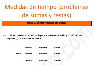 Medidas de tiempo (problemas con sumas y restas)
