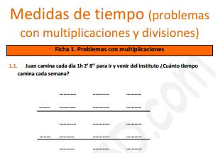 Medidas de tiempo (problemas con multiplicaciones y divisiones) - Ficha para imprimir