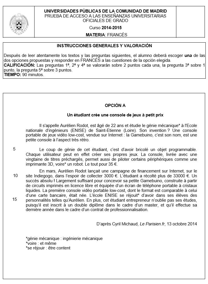 Examen selectividad: Francés. Madrid. Convocatoria 2015