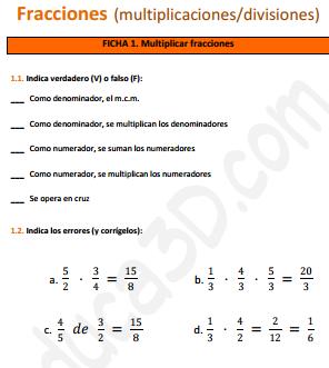 Multiplicación y División de fracciones - Ficha de ejercicios