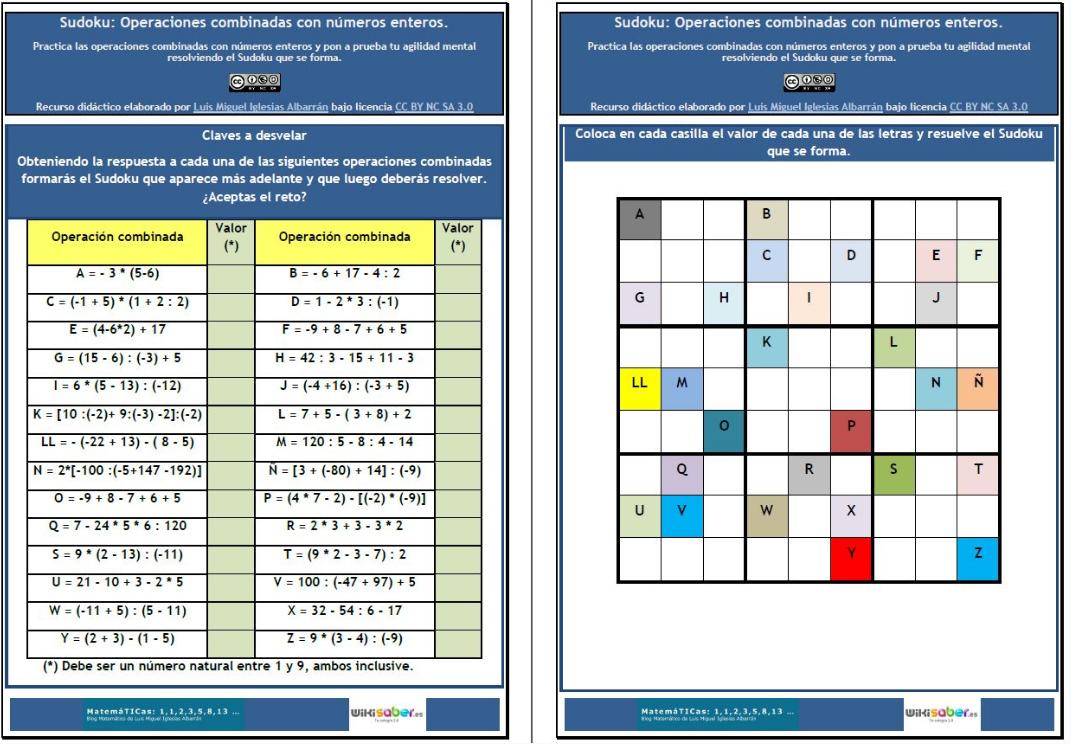 Sudoku Operaciones Combinadas Con Números Enteros Matemáticas De Wikisaber Didactalia Material Educativo