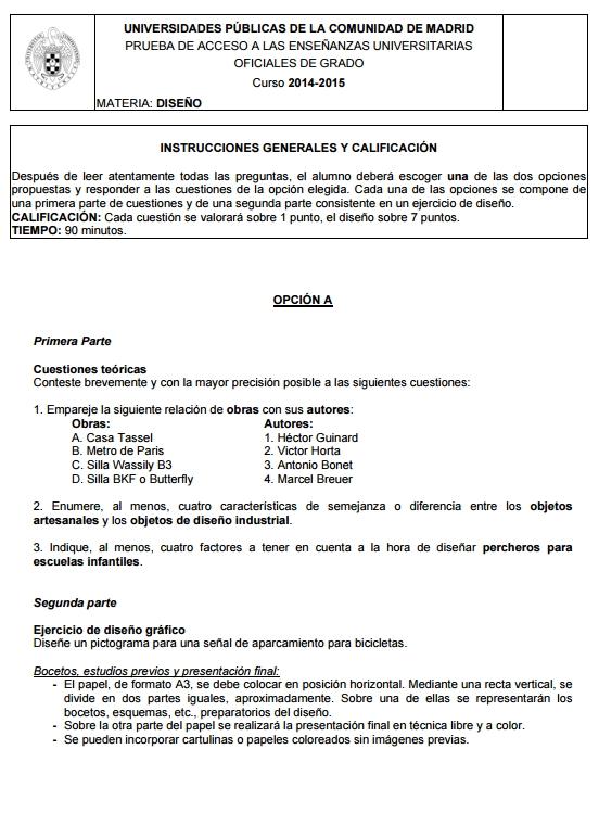 Examen selectividad: Diseño. Madrid. Convocatoria Junio 2015