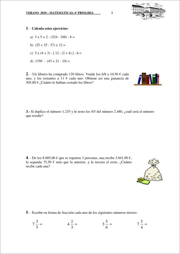 Repaso De Verano Matemáticas 6º Educación Primaria Colegio Romareda Didactalia Material Educativo