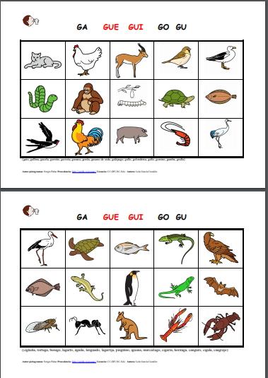 Ficha de animales para trabajar el fonema g