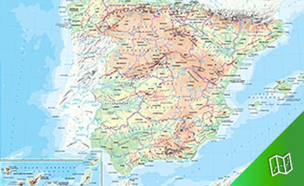 Mapa físico y político de España