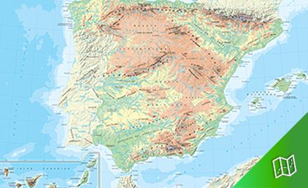 Mapa físico de España escala 1:2.250.000