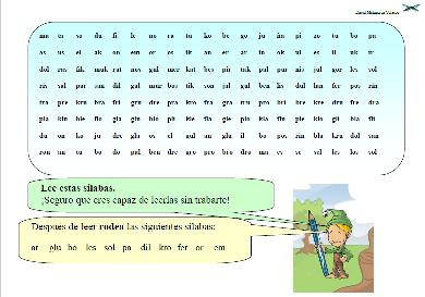 Ficha de lectura de los diferentes tipos de sílaba