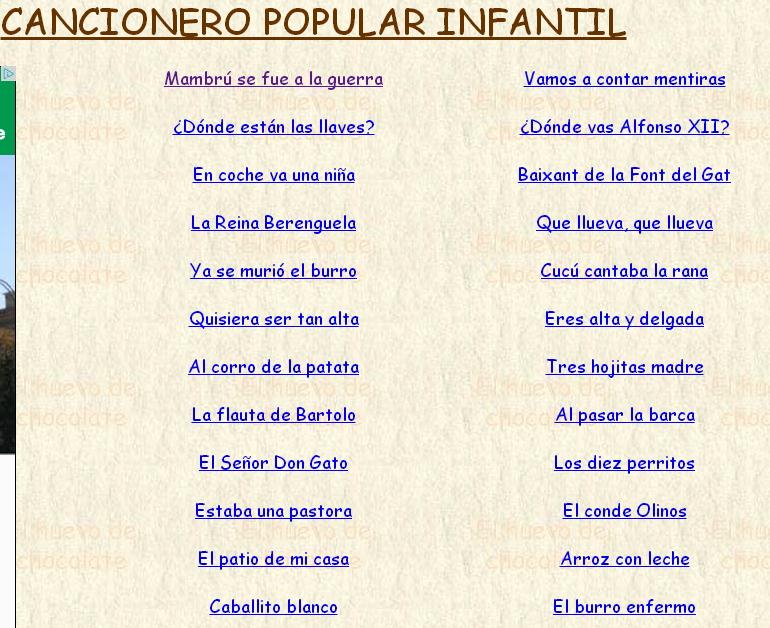 Letras De Canciones Populares Para Niños Didactalia Material