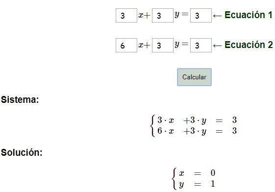 Calculadora de la solución de sistemas de ecuaciones