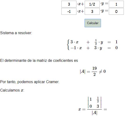 Solucion de sistemas de ecuaciones por el metodo de matrices 2x2