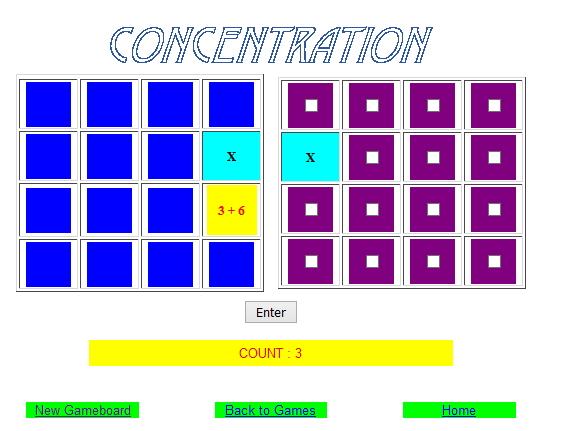 Addition Concentration (Aplusmath)