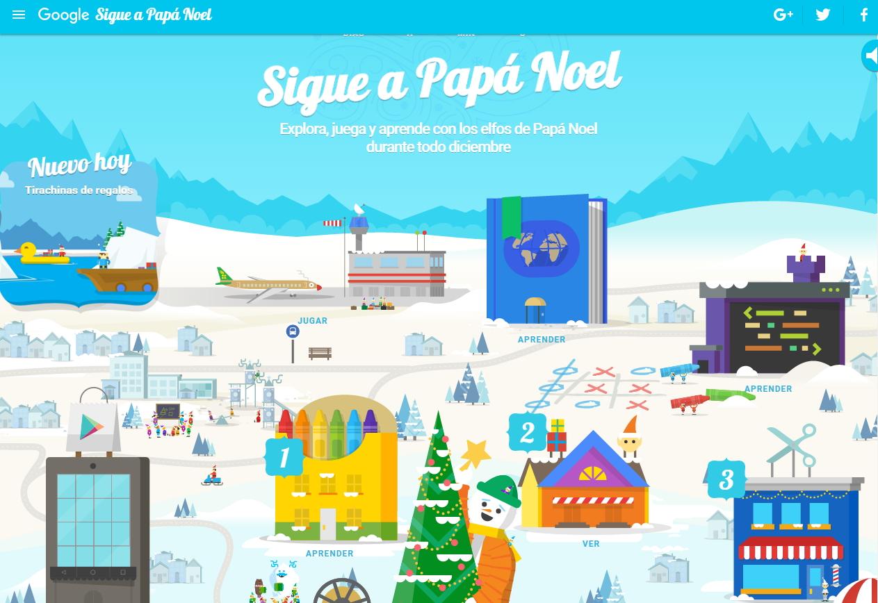 Sigue a Papá Noel. Calendario de Adviento interactivo de Google