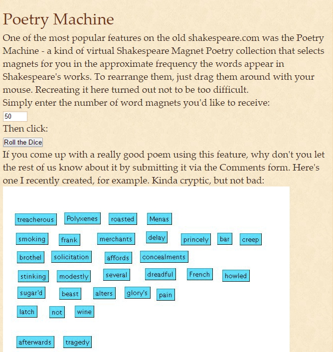 Poetry Machine: create your own Shakespearean poetry