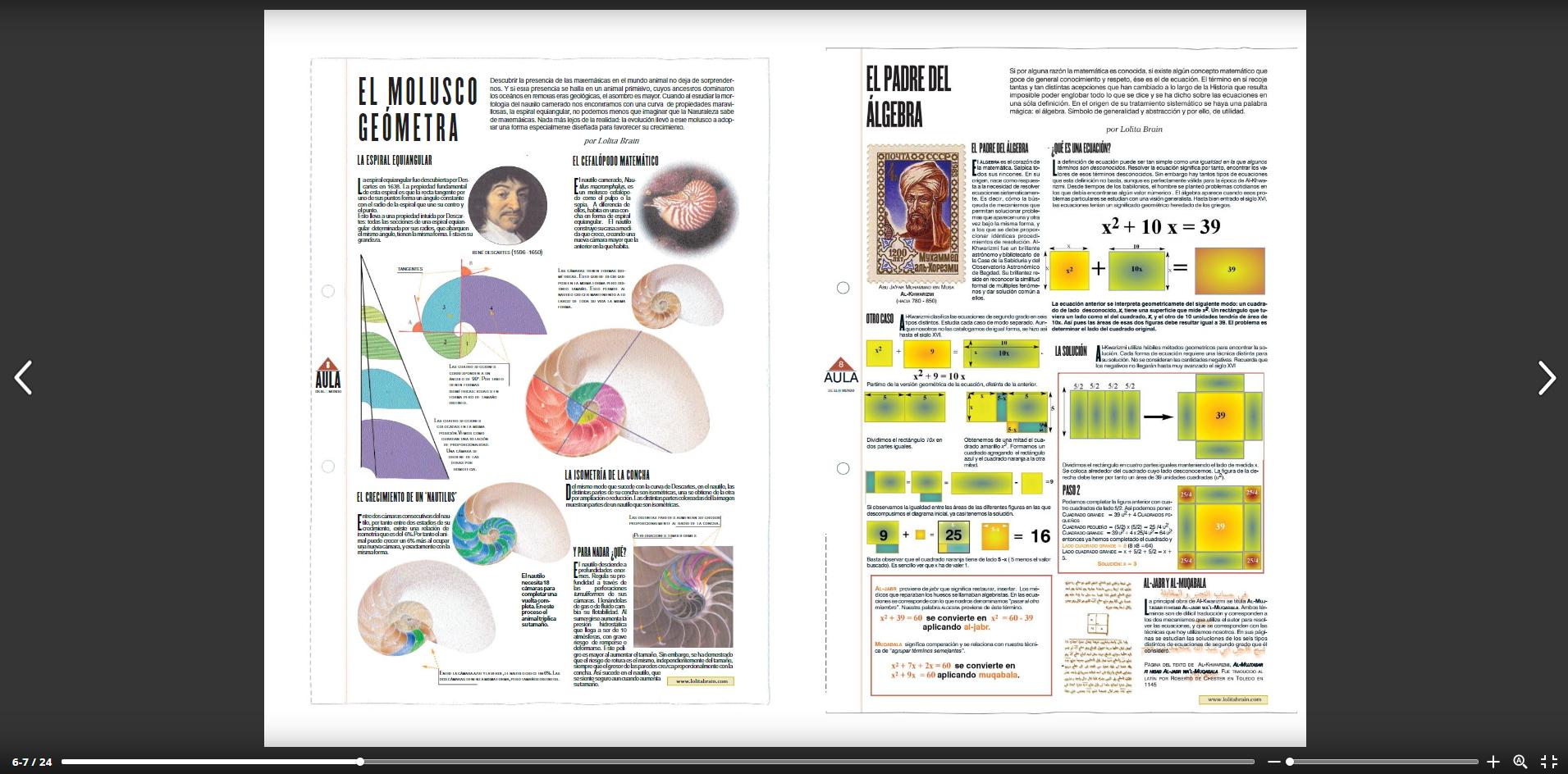 Láminas matemáticas de Lolita Brain (Issuu)