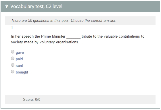 Vocabulary test, C2 level.  Cambridge English Proficiency (examenglish.com