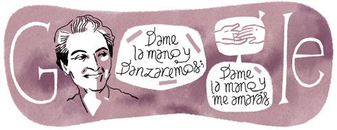 126.º aniversario del nacimiento de Gabriela Mistral. Doodle Google
