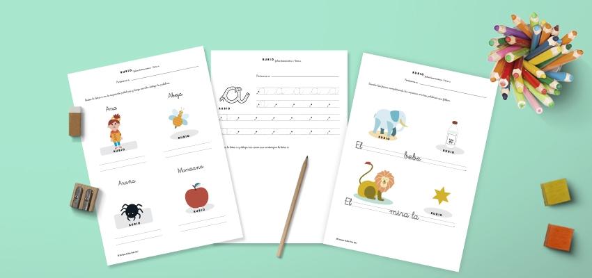 Fichas PDF para trabajar lectoescritura en niños de 5 años. Cuadernos Rubio