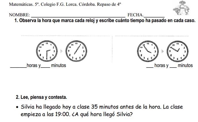 Repaso de Matemáticas de 4º de primaria (IES Lorca de Córdoba ...