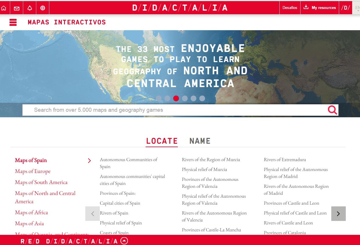 Mapas interactivos en INGLÉS para aprender geografía